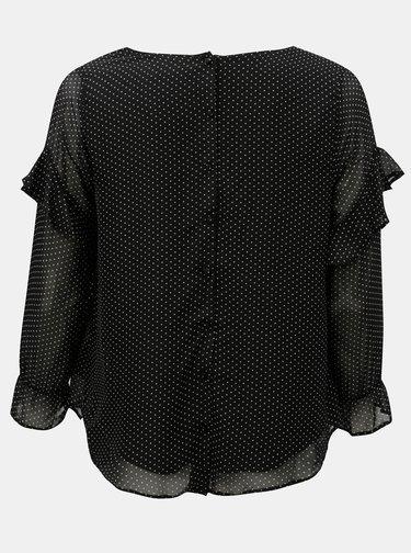 Bluza neagra cu buline si volane pe maneci M&Co Plus