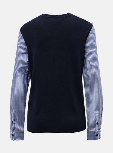 Tmavomodrý tenký sveter so všitými košeľovými rukávmi Nautica