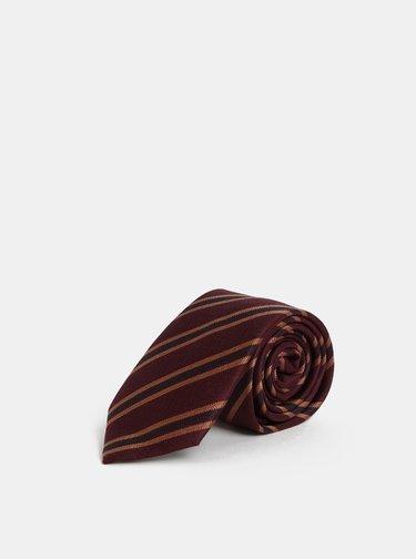 Cravata bordo din matase in dungi Jack & Jones Johan