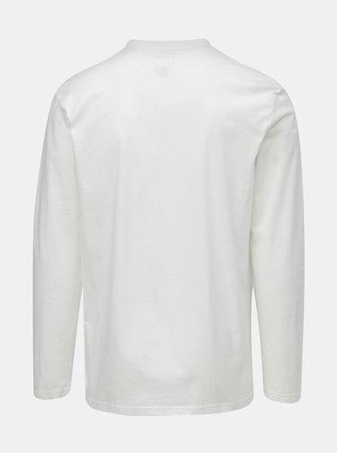 Tricou barbatesc alb regular fit cu maneci lungi si imprimeu Quiksilver Colon