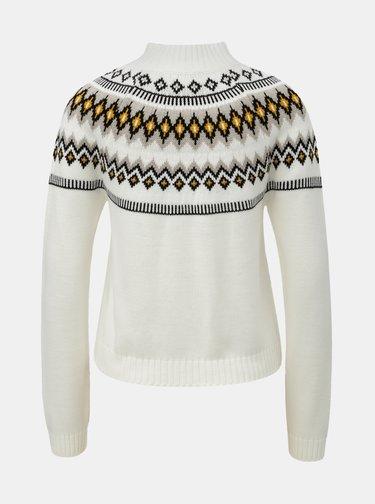 Bílý vzorovaný svetr se stojáčkem Miss Selfridge