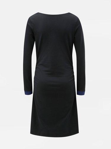 Čierne šaty s riasením vo výstrihu a na bokoch Tranquillo Durga