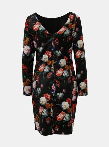 Červeno–čierne kvetované šaty Smashed Lemon