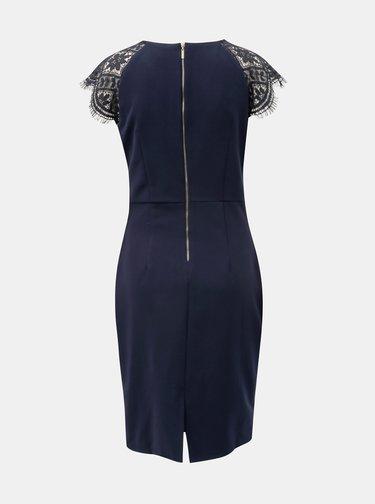 Tmavomodré puzdrové šaty s čipkou Smashed Lemon