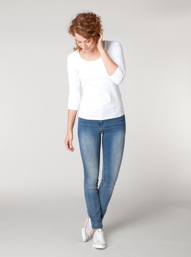 Bílé basic tričko s 3/4 rukávem Yest