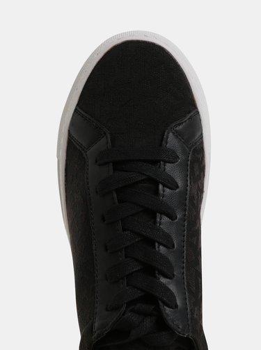 Pantofi sport negri cu logo DKNY Court