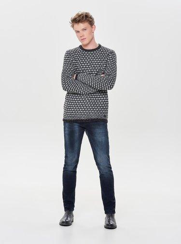 Sivo–čierny sveter ONLY & SONS