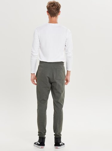 Bílé basic tričko s dlouhým rukávem ONLY & SONS