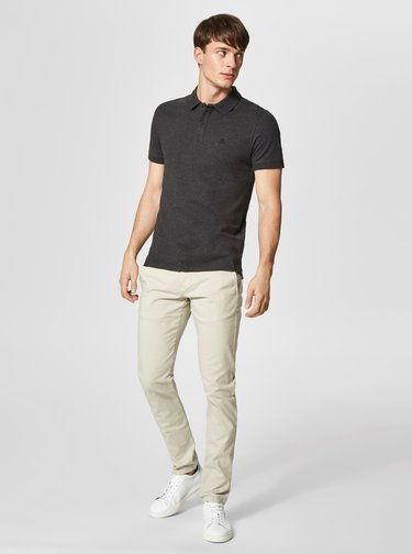 Tmavě šedé basic polo tričko Selected Homme Haro