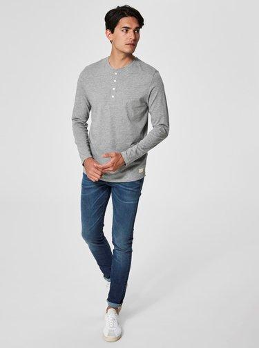 Světle šedé basic tričko s dlouhým rukávem Selected Homme Niklas