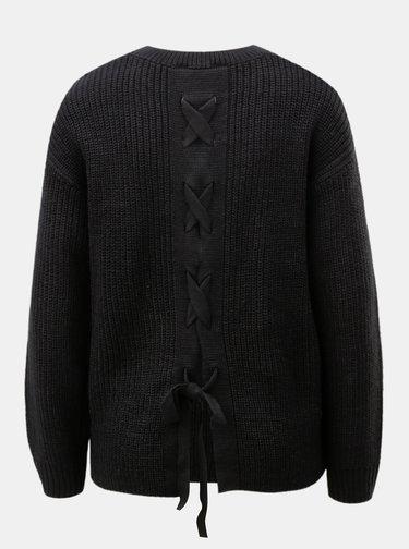 Pulover negru cu snur la spate Dorothy Perkins