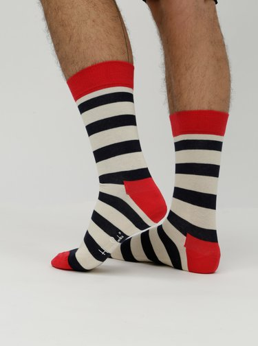 Sosete rosu, alb si negru in dungi Happy Socks Stripe