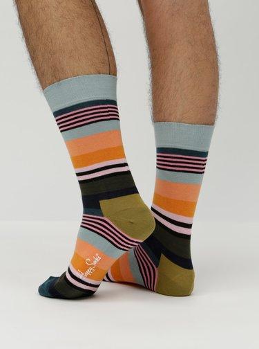 Modro-oranžové unisex ponožky Happy Socks Multi Stripe
