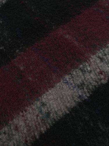 Čierno–fialový kockovaný šál Pieces Kara