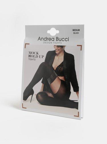 Čierne silonky s trblietavým detailom Andrea Bucci Mock Hold Up 70 DEN