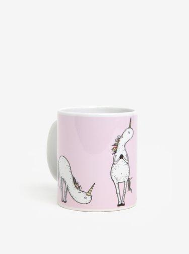 Cana roz din portelan cu unicorni Butter Kings
