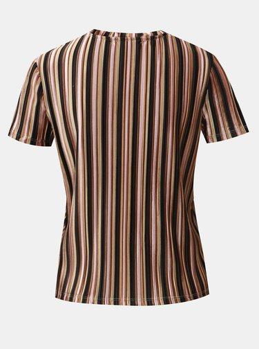 Černo-hnědé sametové pruhované žebrované tričko TALLY WEiJL