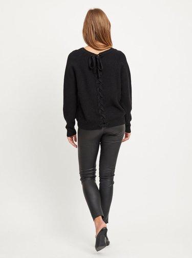 Čierny sveter so zaväzovaním na chrbte VILA Sia