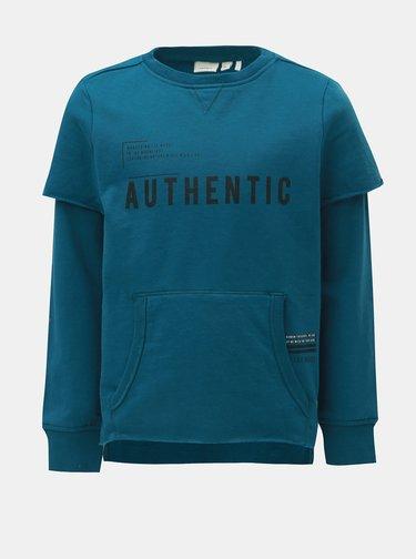 471453092c Modrá dětská mikina s kapucňou a klokaním vreckom adidas Originals Trefoil