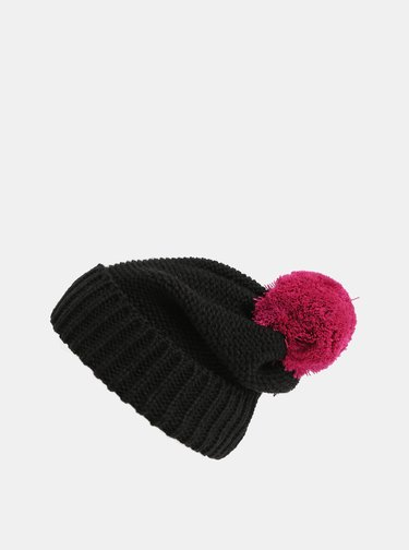 Čierna čiapka s brmbolcom NUGGET Medea