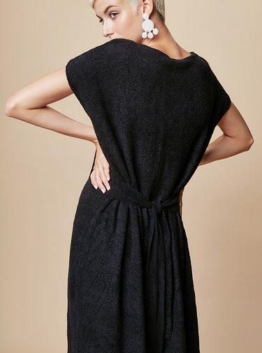 Čierne svetrové šaty so zaväzovaním touch me.