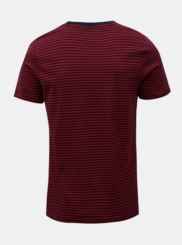 Modro-červené pruhované basic tričko Selected Homme Perfect