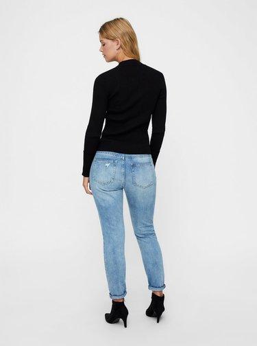 Čierny rebrovaný basic sveter so stojačikom AWARE by VERO MODA Fine