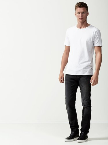 Tricou alb Selected Homme Pima
