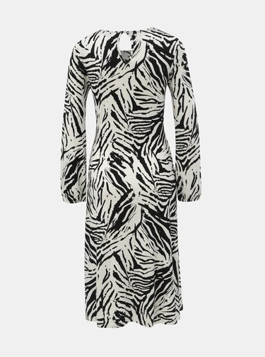 Rochie negru-alb cu model si pliuri in zona abdomenului Dorothy Perkins