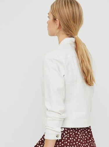 Biela rifľová bunda VERO MODA Hot Soya