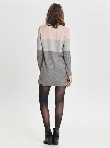 Rochie roz-gri tricotata melanj ONLY