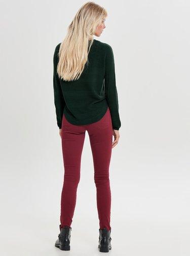 Tmavě zelený lehký svetr s rozparkem na boku ONLY Caviar