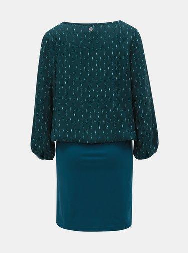 Petrolejovo–zelené vzorované šaty s 3/4 rukávom Tranquillo Macha