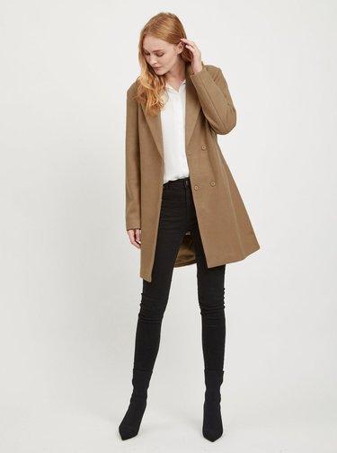 Hnedý kabát s prímesou vlny VILA