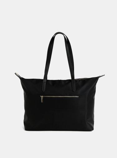Černá cestovní taška s kapsou na notebook a koženými detaily  Smith & Canova