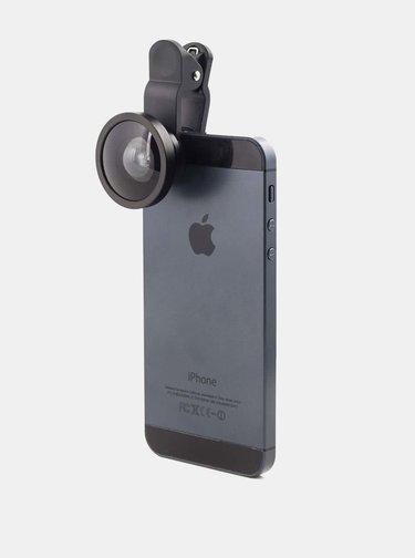 Čierna širokouhlá šošovka na telefón Kikkerland