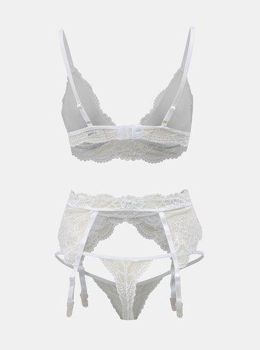 Kolekcia podprsenka, táng a podväzkového pásu v bielej farbe Obsessive
