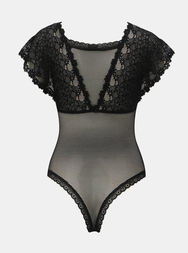Body negru transparent din dantela Obsessive