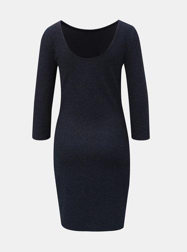 Tmavě modré třpytivé pouzdrové šaty s 3/4 rukávem Jacqueline de Yong