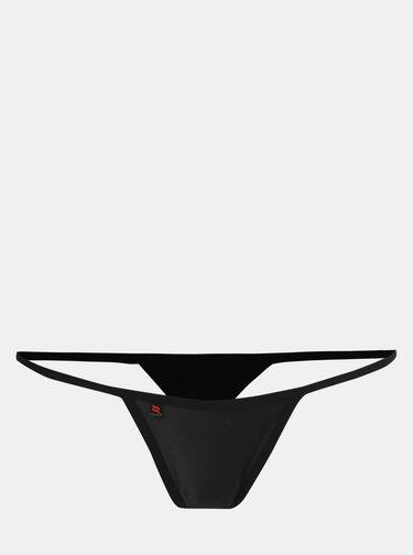 Sada černého župánku s krajkovými detaily a tang Obsessive