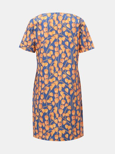 Oranžovo-modré šaty s motivem mochyně annanemone