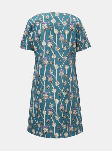Bielo–modré šaty s motívom bodliakov annanemone