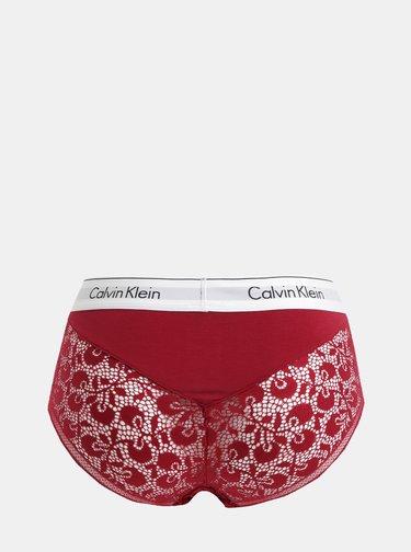 Červené čipkované nohavičky s vysokým pásom Calvin Klein