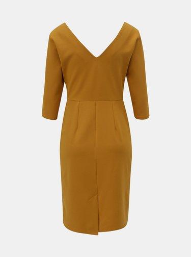 Horčicové šaty s 3/4 rukávom Dorothy Perkins