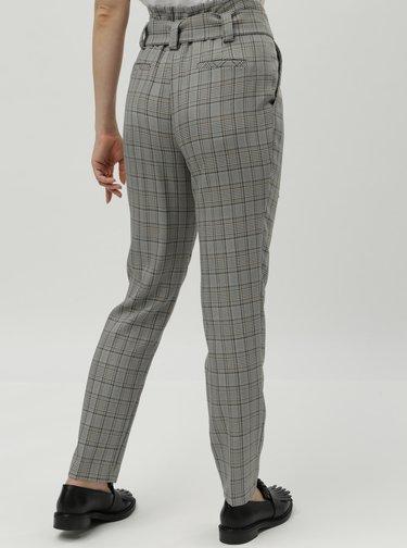 Sivé kockované nohavice s vysokým pásom Dorothy Perkins Tall