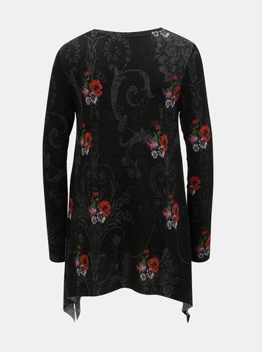 Černá květovaná tunika s cípky Desigual Cronosk