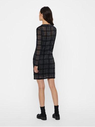 Čierne kockované šaty s dlhým rukávom Noisy May Kaya