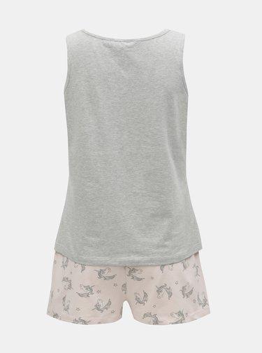 Sivo–ružové dvojdielne pyžamo s motívom jednorožcov Dorothy Perkins