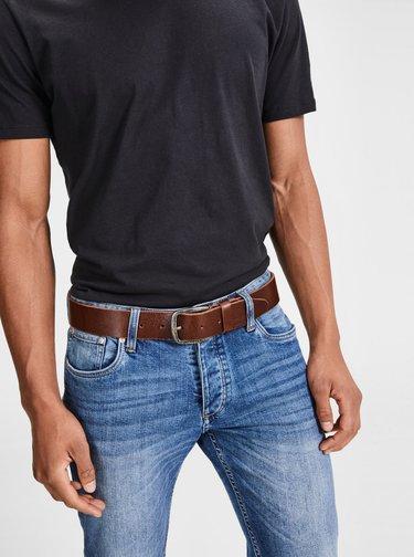 Tmavě hnědý kožený pásek Jack & Jones Paul