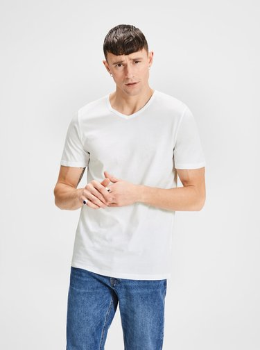 Set de 2 tricou basic alb cu decolteu in V Jack & Jones
